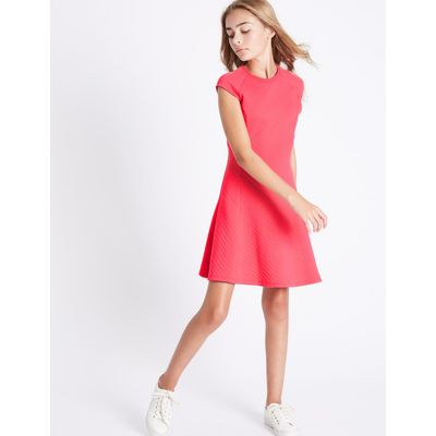 Cotton Rich Fit & Flare Dress (3-14 Years) cerise