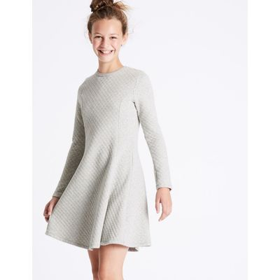 Cotton Rich Quilted Dress (3-14 Years) grey marl