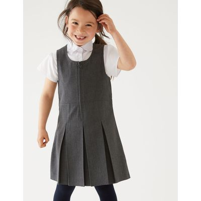 PLUS Girls' Pinafore with Permanent Pleats grey