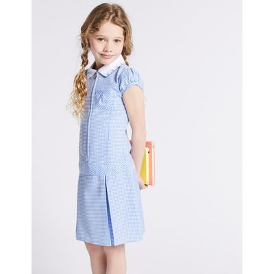 Pleated Gingham Dress blue