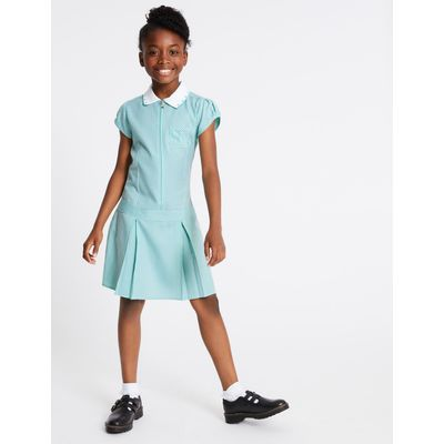 Pleated Gingham Dress green