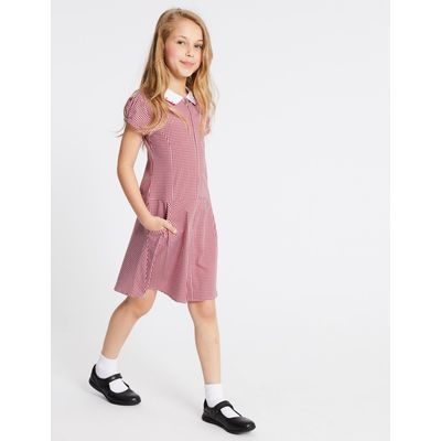 Girls' Pure Cotton Non-Iron Gingham Dress red