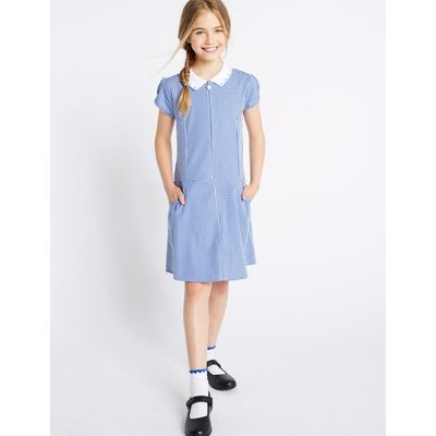 Girls' Pure Cotton Non-Iron Gingham Dress blue