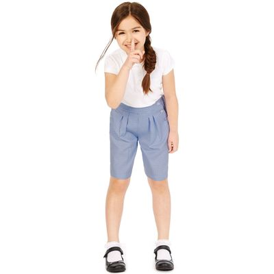 Girls' Gingham Culottes with Crease Resistant  blue