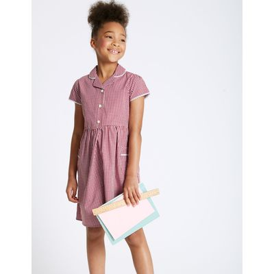 Girls' Easy Dressing Classic Checked Dress red