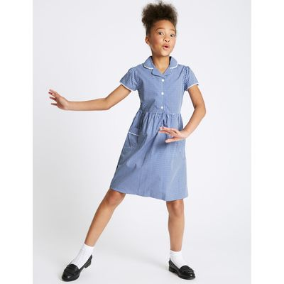 Girls' Easy Dressing Classic Checked Dress blue
