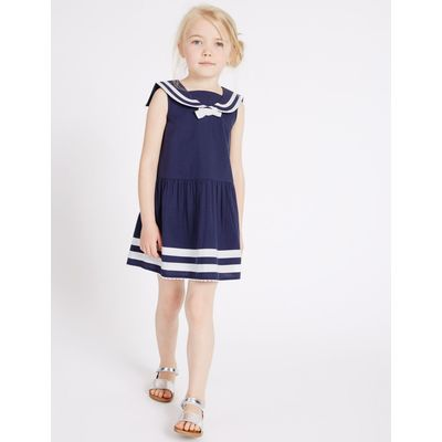 Pure Cotton Woven Dress (3 Months - 5 Years) navy mix