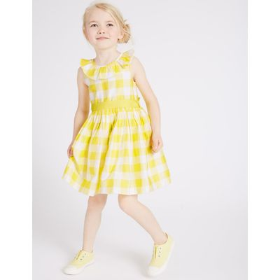 Pure Cotton Checked Prom Dress (3 Months - 5 Years) yellow mix