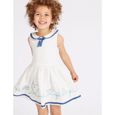Pure Cotton Slogan Dress (3 Months - 5 Years) ivory mix