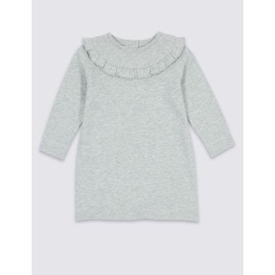 Cotton Rich Frill Dress (3 Months - 5 Years) grey marl