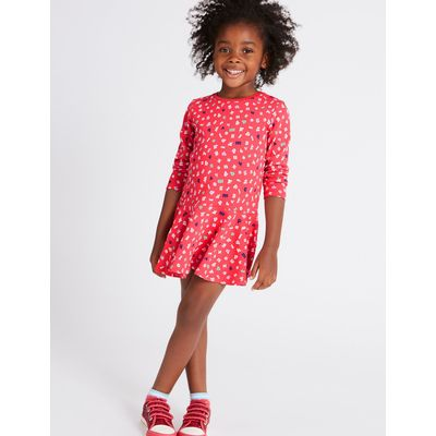 Pure Cotton Printed Dress (3 Months - 5 Years) red mix