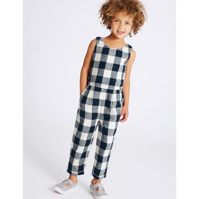 Pure Cotton Checked Jumpsuit (3 Months - 5 Years) blue
