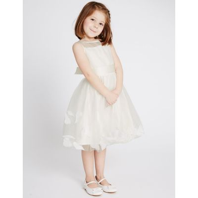 Petal Hem Dress (1-14 Years) ivory