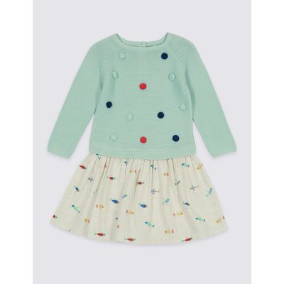 Pure Cotton Long Sleeve Dress (3 Months - 5 Years) sea green
