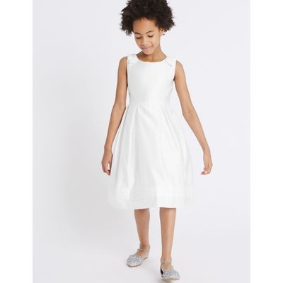 Bow Dress (5-14 Years) white