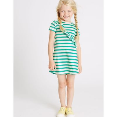 Pure Cotton Striped Dress (3 Months - 5 Years) green mix