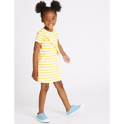 Pure Cotton Striped Dress (3 Months - 5 Years) yellow mix