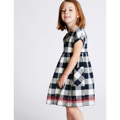 Pure Cotton Checked Dress (3 Months - 5 Years) blue mix