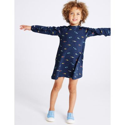 All Over Print Cotton Dress with Stretch (3 Months - 5 Years)  blackberry