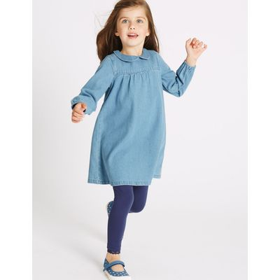 Pure Cotton Long Sleeve Dress (3 Months - 5 Years) denim