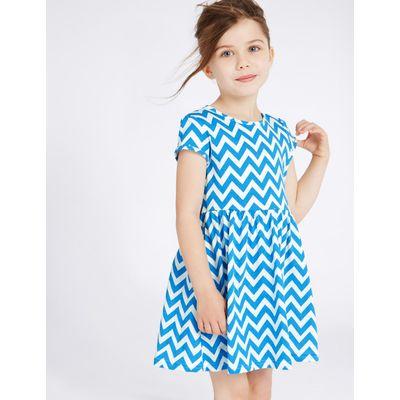 Pure Cotton Zigzag Dress (3 Months - 5 Years) blue mix
