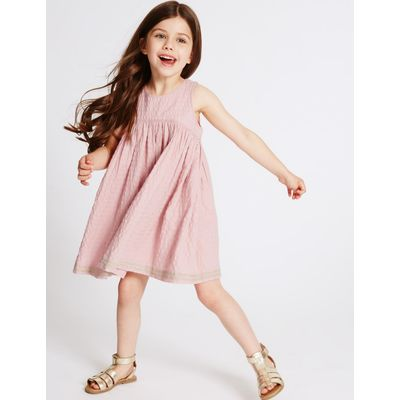 Pure Cotton Embroidered Hem Dress (3 Months - 5 Years) pink