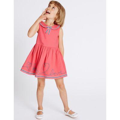 Pure Cotton Pique Dress (3 Months - 8 Years) pink mix
