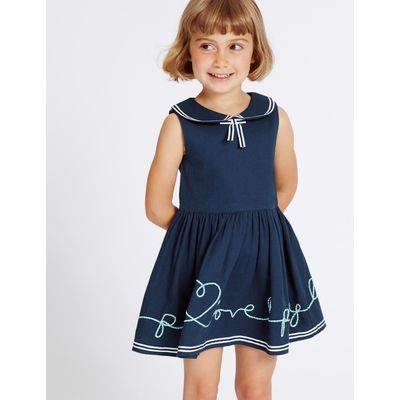 Pure Cotton Pique Dress (3 Months - 5 Years) navy