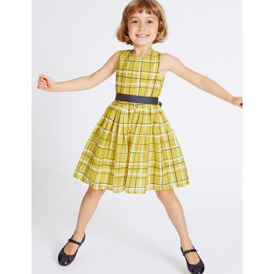 Pure Cotton Checked Dress with Belt (3 Months - 8 Years) yellow mix