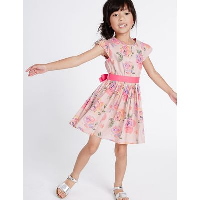 Pure Cotton Printed Dress with Belt (3 Months - 8 Years) pink mix