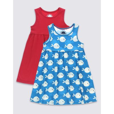 2 Pack Pure Cotton Dress (3 Months - 5 Years) blue mix