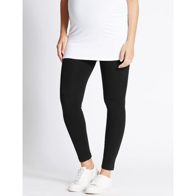 Maternity Cotton Leggings with Stretch black