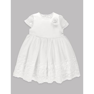 Lace Christening Baby Dress winter white