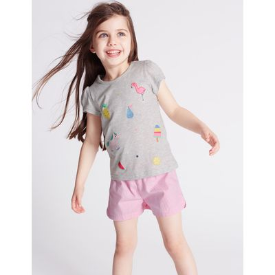 Pure Cotton Short Pyjamas (9 Months - 8 Years) grey mix