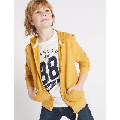 Cotton Rich Long Sleeve Hooded Top (3-14 Years) yellow