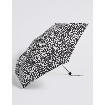 M&S Collection Heart Print Umbrella with Stormwear