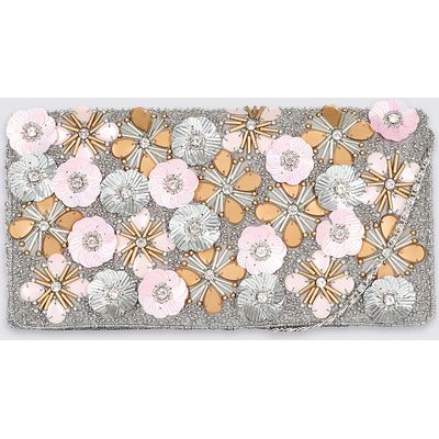 M&S Collection 3D Floral Clutch Bag