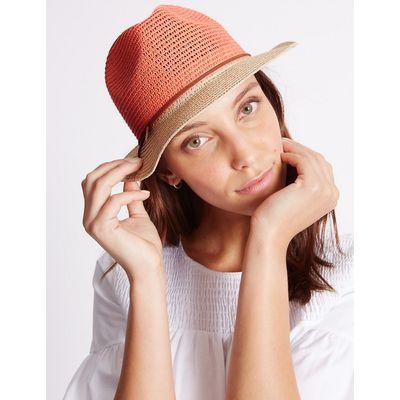 M&S Collection Colour Block Trilby Hat
