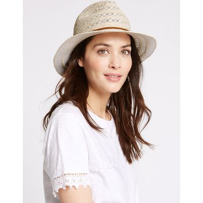 M&S Collection Crochet Braid Trilby Summer Hat