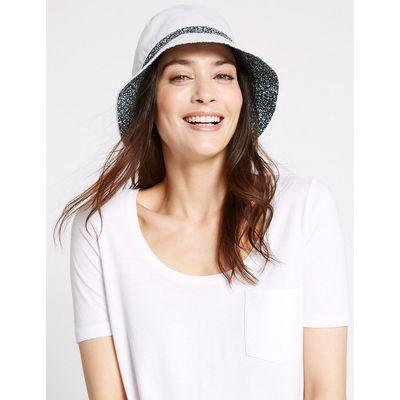 M&S Collection Pure Cotton Reversible Floral Trim Hat