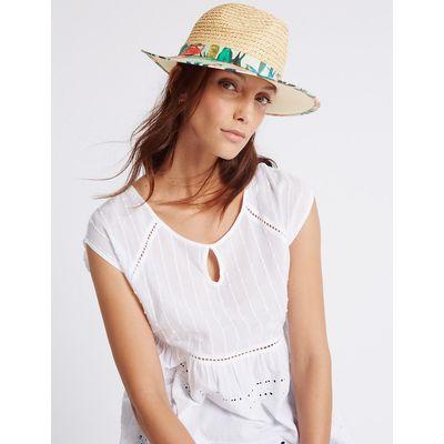 M&S Collection Havana Print Fedora Hat
