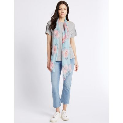 M&S Collection Pure Silk Floral Print Scarf