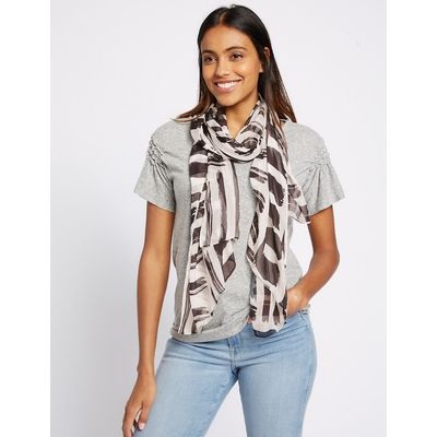 M&S Collection Pure Silk Printed Scarf