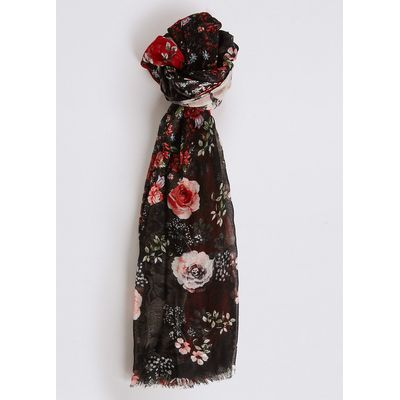 M&S Collection Floral Print Patchwork Scarf