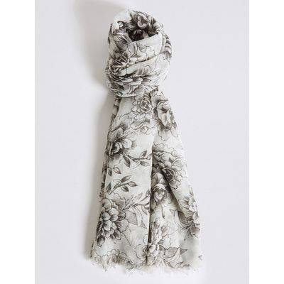 M&S Collection Rose Print Scarf