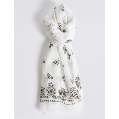 M&S Collection Paisley Border Print Scarf