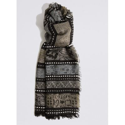 M&S Collection Cotton Rich Jacquard Stripe Scarf