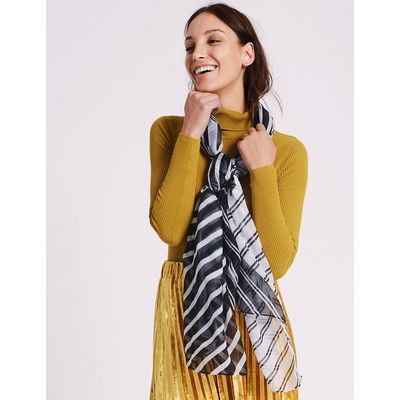 M&S Collection Spliced Stripe Scarf