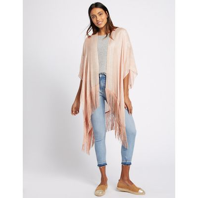 M&S Collection Modal Rich Sequin Fringe Kimono