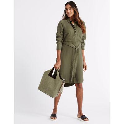 M&S Collection Faux Leather Tassel Shoulder Bag, Khaki Mix